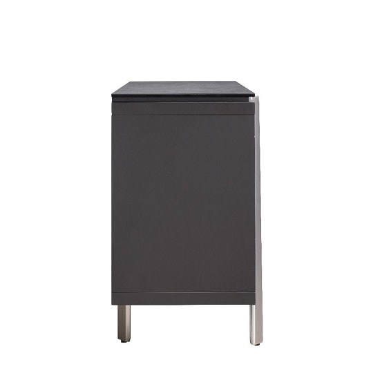 Breton Glass Top Sideboard In Grey Ceramic With 2 Doors_4