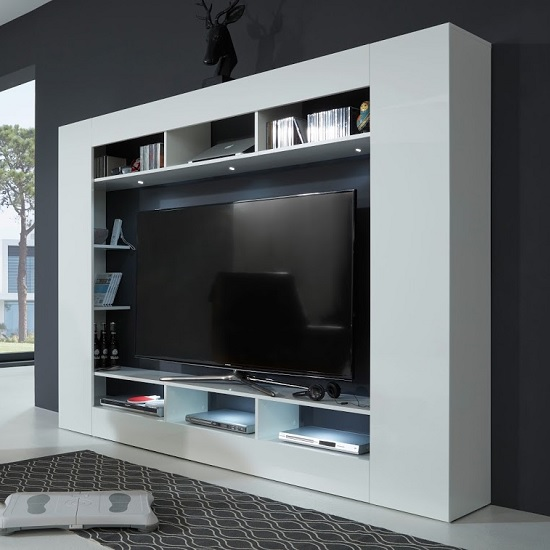 Breton Wall Entertainment Unit In White High Gloss With LED_1