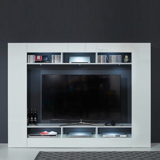Breton Wall Entertainment Unit In White High Gloss With LED_2