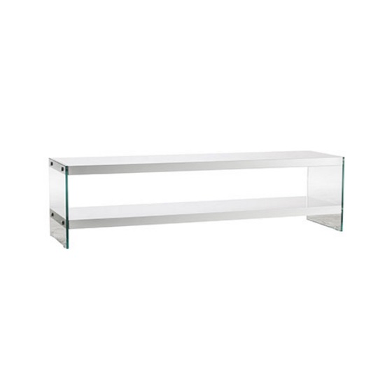 Bretton Modern TV Stand Rectangular In White With Glass Sides