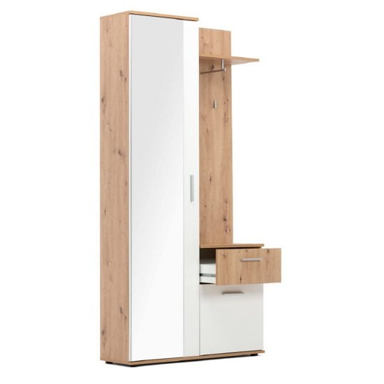 Breva Wooden Hallway Stand In Artisan Oak And White