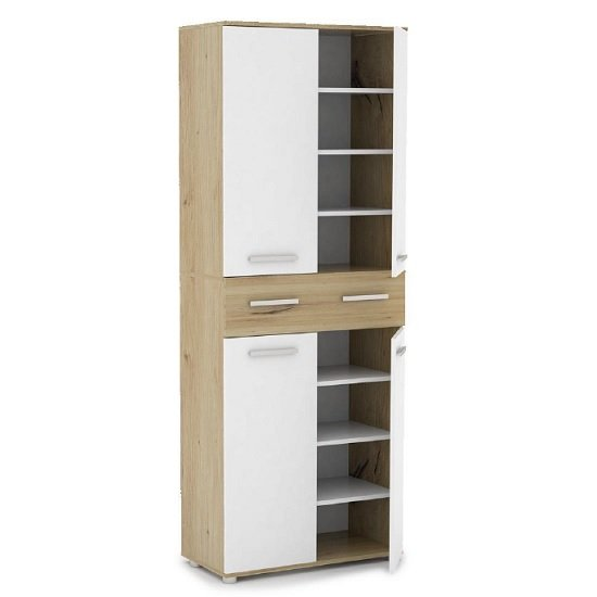 Breva Shoe Storage Cupboard In Artisan Oak And White