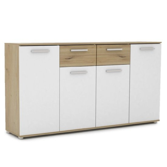Breva Wooden Sideboard In Artisan Oak And White With 4 Doors