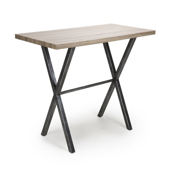 Brevik Wooden Bar Table In Oak With Black Metal Legs_1