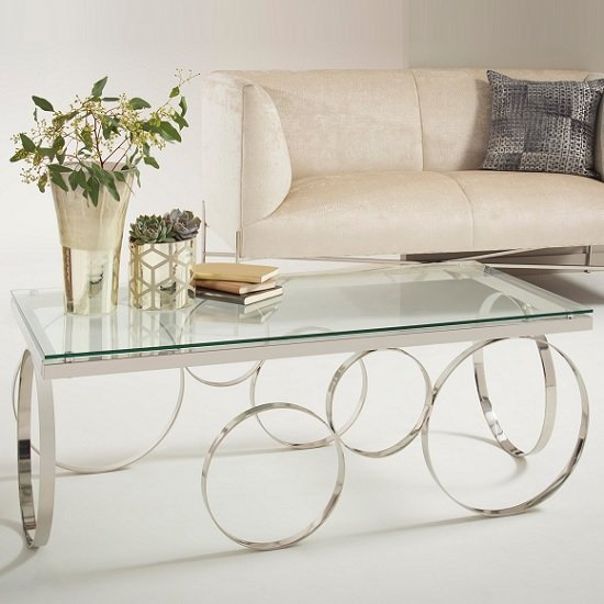 Brevix Glass Coffee Table Rectangular In Clear With Silver Frame