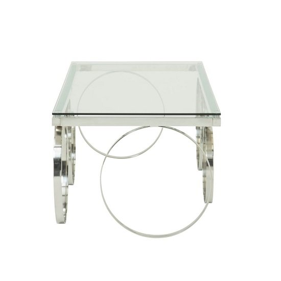 Brevix Glass Coffee Table Rectangular In Clear With Silver Frame_2