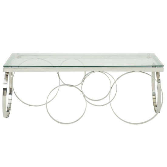 Brevix Glass Coffee Table Rectangular In Clear With Silver Frame_3