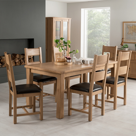 View Brex extending large natural dining table with 6 chairs