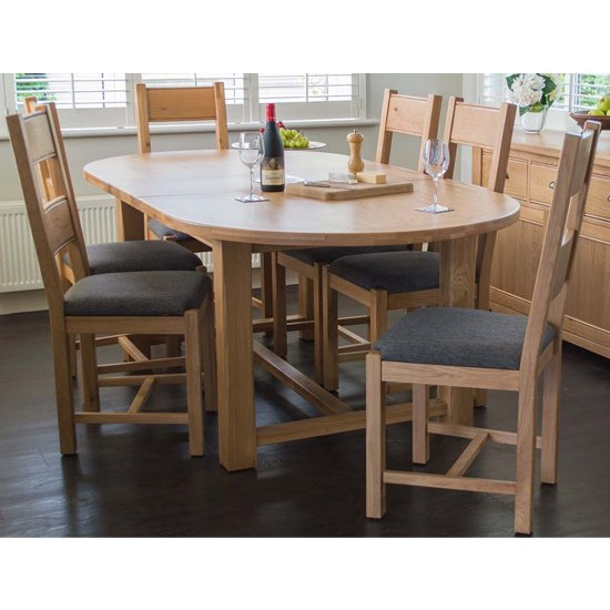 View Brex extending oval natural dining table with 6 chairs