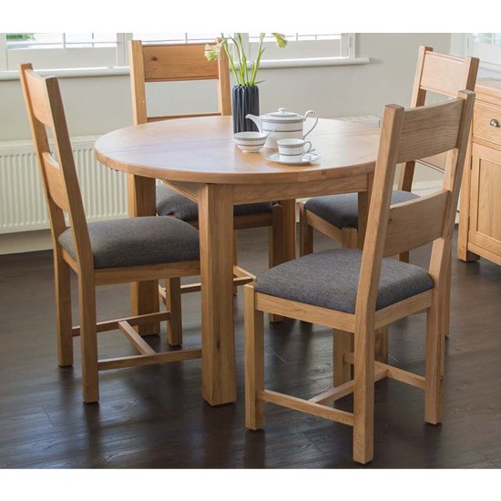 View Brex extending round natural dining table with 6 chairs