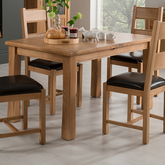 Brex Extending Wooden Dining Table In Natural
