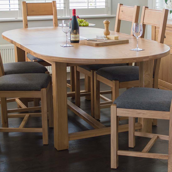 Brex Extending Wooden Oval Dining Table In Natural