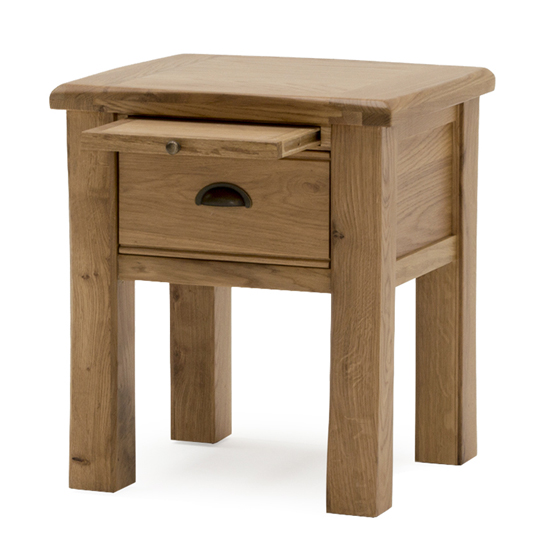 Brex Wooden 1 Drawer Lamp Table In Natural_1