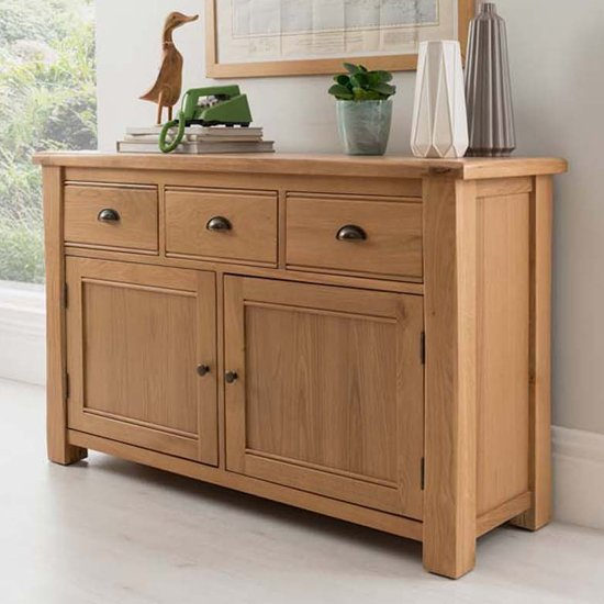 Product photograph showing Brex Wooden 2 Doors 3 Drawers Sideboard In Natural