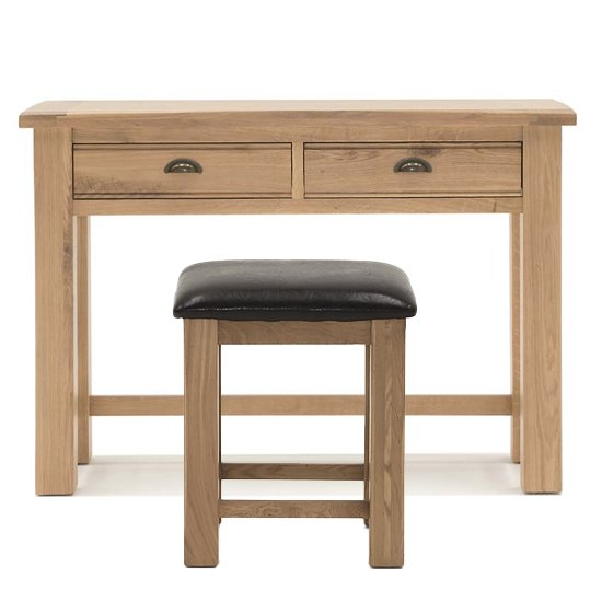 Brex Wooden Dressing Table Set With Stool In Natural