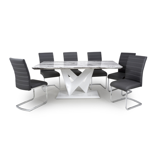 Brezza Large Gloss Dining Table With 6 Callisto Black Chairs