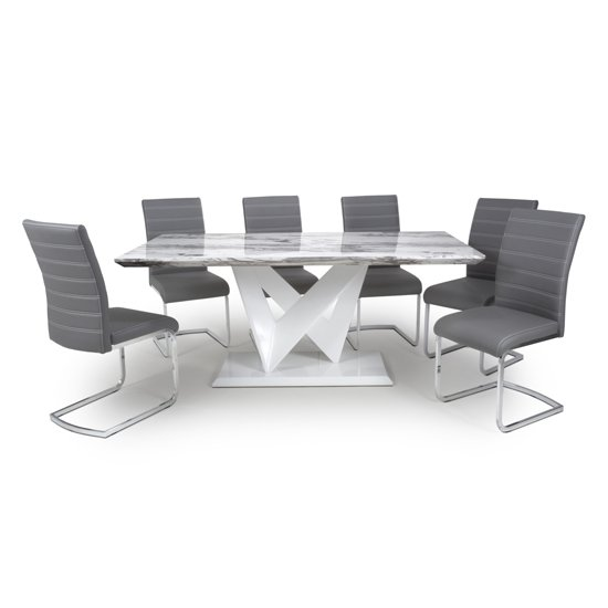 Brezza Large Gloss Dining Table With 6 Callisto Grey Chairs