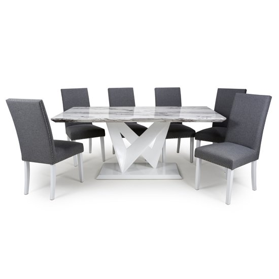 Brezza Large Gloss Dining Table With 6 Linen Steel Grey Chairs