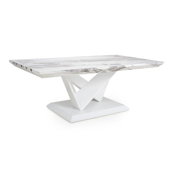 Elegance White Gloss Marble Effect Ceramic Floor Tile: Deco High Gloss Coffee Table With Storage