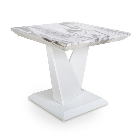 Brezza Gloss Marble Effect Lamp Table With White Leg Frame