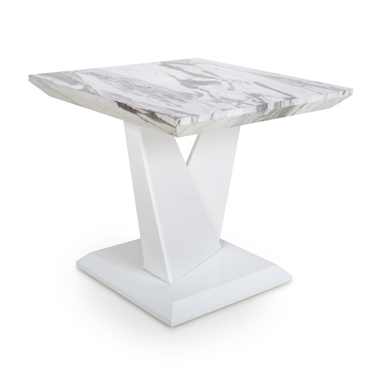 Brezza Gloss Marble Effect Lamp Table With White Leg Frame_1