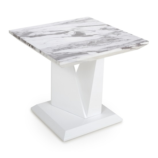 Brezza Gloss Marble Effect Lamp Table With White Leg Frame_2