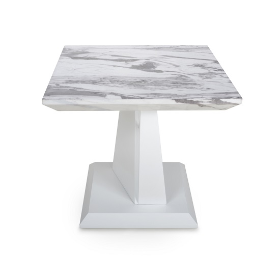 Brezza Gloss Marble Effect Lamp Table With White Leg Frame_3