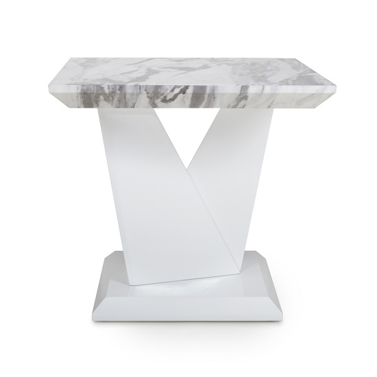 Brezza Gloss Marble Effect Lamp Table With White Leg Frame_4