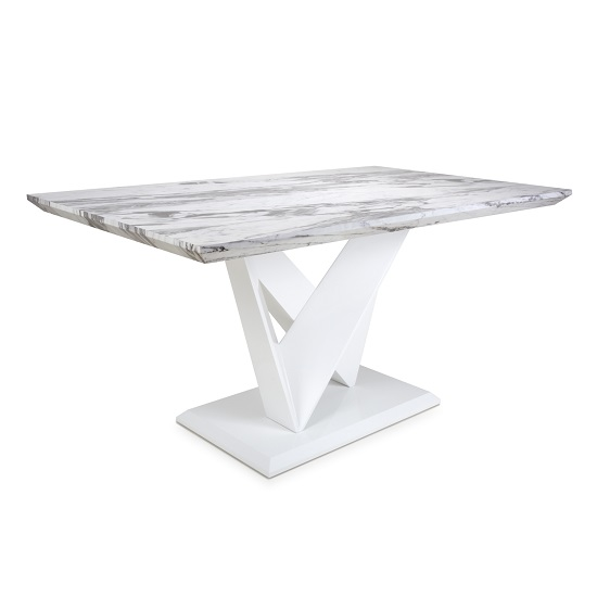 Brezza Medium Gloss Marble Effect Dining Table With White Frame