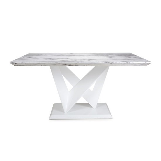 Brezza Medium Gloss Marble Effect Dining Table With White Frame_2