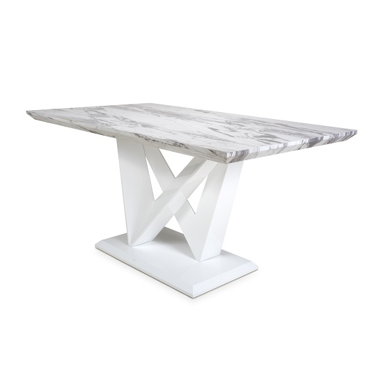 Brezza Medium Gloss Marble Effect Dining Table With White Frame_3