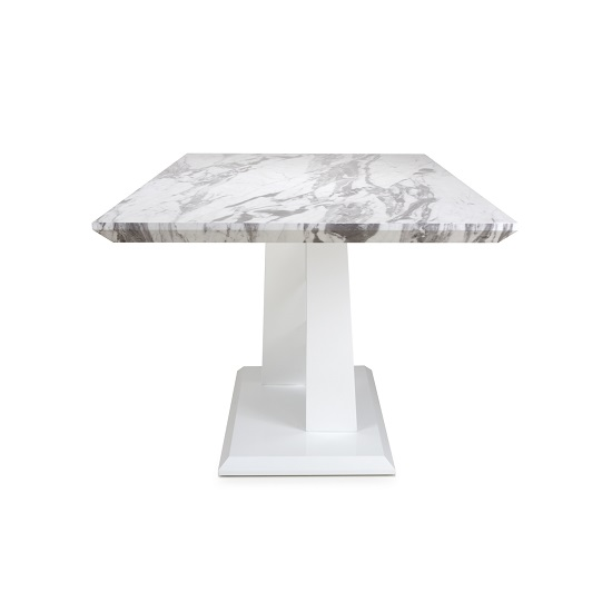 Brezza Medium Gloss Marble Effect Dining Table With White Frame_4