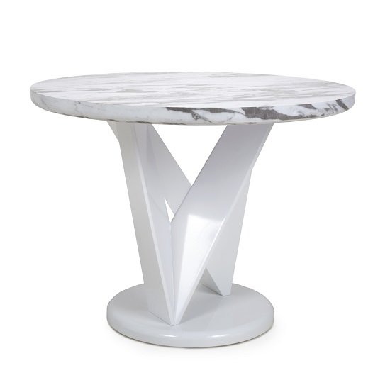 Brezza Gloss Marble Effect Round Dining Table With White Frame_1