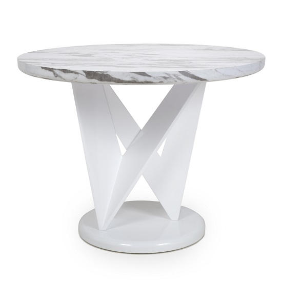 Brezza Gloss Marble Effect Round Dining Table With White Frame_2