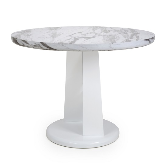 Brezza Gloss Marble Effect Round Dining Table With White Frame_3