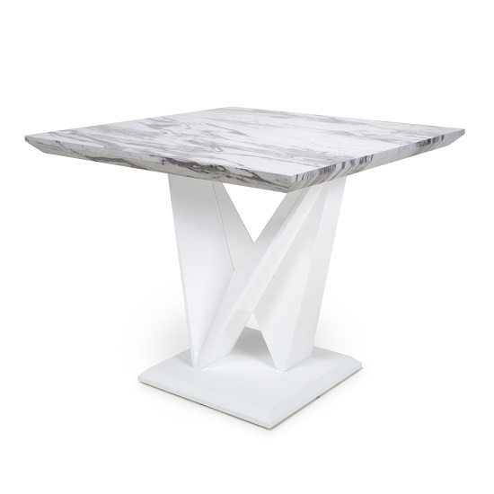 Brezza Gloss Marble Effect Square Dining Table With White Frame