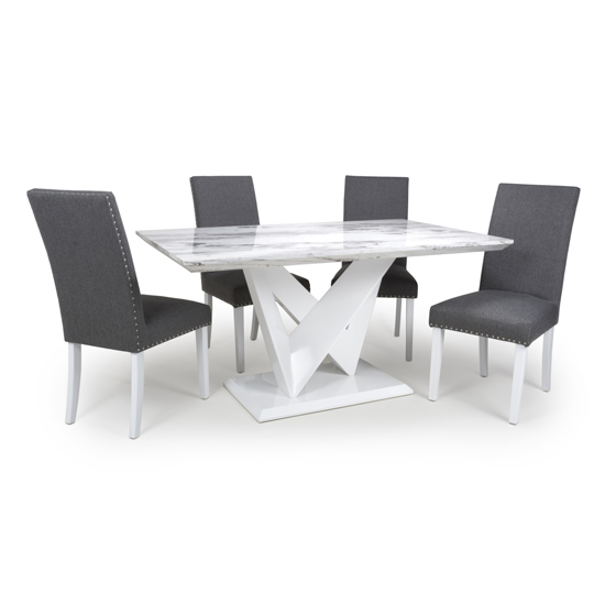 Brezza Gloss Medium Dining Table 4 Steel Grey Chairs White Legs
