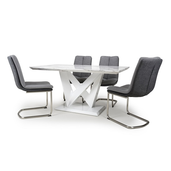 Product photograph showing Brezza Gloss Marble Effect Dining Table With 4 Light Grey Chairs