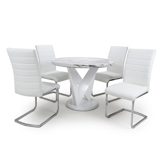 Brezza Round Marble Effect Dining Table With 4 White Chairs