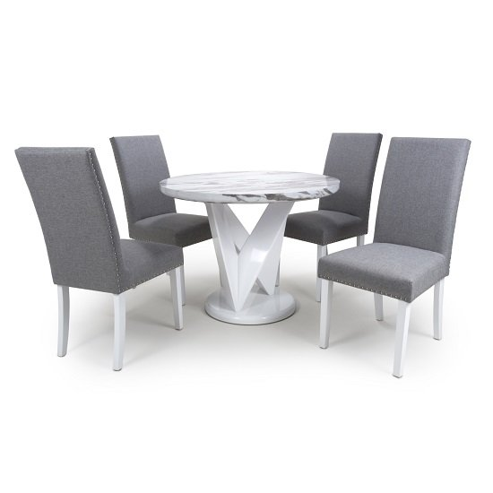 Brezza Round Marble Effect Dining Table With 4 Silver Grey Chair