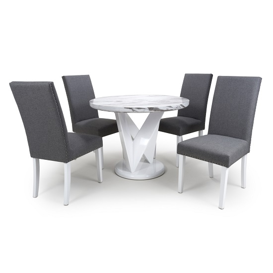 Brezza Round Marble Effect Dining Table With 4 Steel Grey Chairs