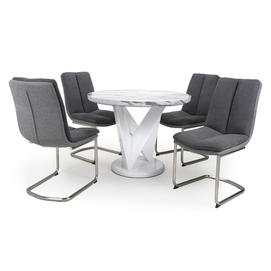 Brezza Round Marble Effect Dining Table With 4 Dark Grey Chairs
