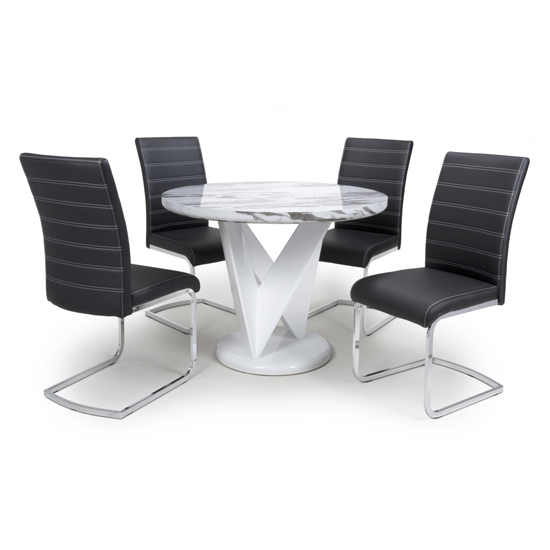 Brezza Round Gloss Dining Table With 4 Callisto Black Chairs