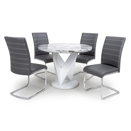 Brezza Round Gloss Dining Table With 4 Callisto Grey Chairs_1