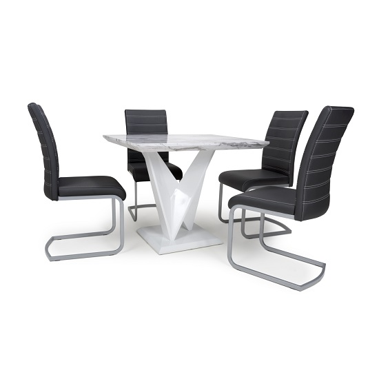 Brezza Square Marble Effect Dining Table With 4 Black Chairs