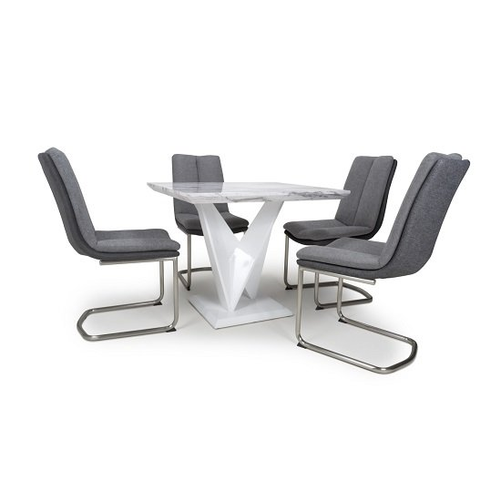 Brezza Square Marble Effect Dining Table With 4 Light Grey Chair