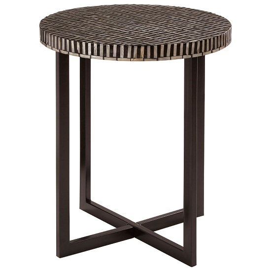 Bria MDF Round Side Table In Black And White Tones
