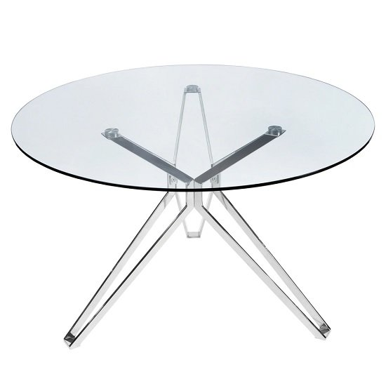Toulouse Glass Dining Table Round In Clear With Chrome Legs