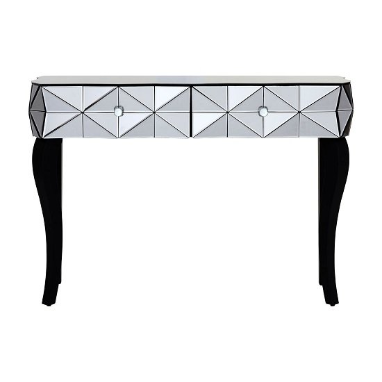 Brice Glass Console Table In Silver With Wooden Legs