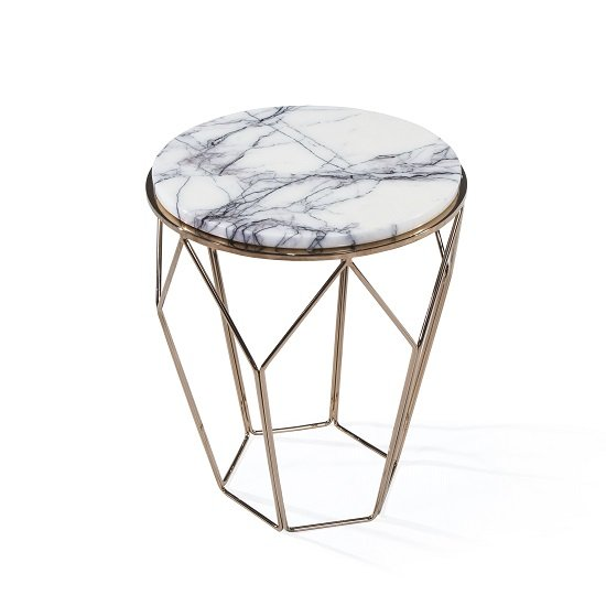 Bridgeport Marble Side Table Round In White With RoseGold Frame